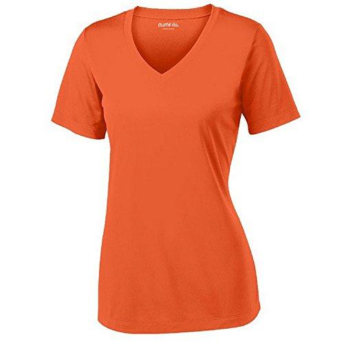 Clothe Co. Ladies Short Sleeve V-Neck Moisture Wicking Athletic Shirt, Deep Orange, S