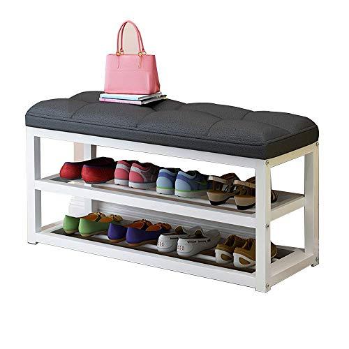 ZAIHW Zapatero Banco de Zapatos con Cambio de 2 Niveles Caja de Zapatos Multifunción con cojín Suave Taburete de Almacenamiento Sofá Taburete 4 Colores (Color: C)