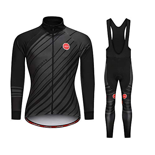 LongAo Men's Cycling Jersey Suit Winter Thermal Fleece Long Sleeve Mountain Bike Road Bicycle Shirt Padded Pants (Long Sleeve Black Fleece Set, 2XL)