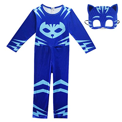 Wetry kinderkostüm Catboy Halloween-Cospaly-Verkleidung-Maskierter Superheld-Faschingskostüm-Blau/110