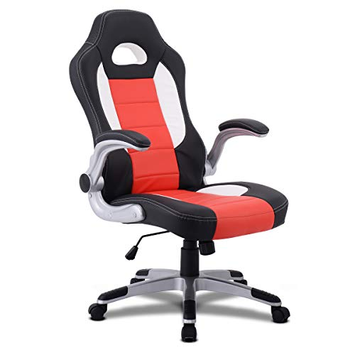 Giantex Ergonomic Gaming Chair High Back Leather Computer Executive Chair, Racing Style Bucket Seat Adjustable Swivel Chair, Office Desk Chair Video Game Chairs w/Armrest (Orange) chair gaming orange