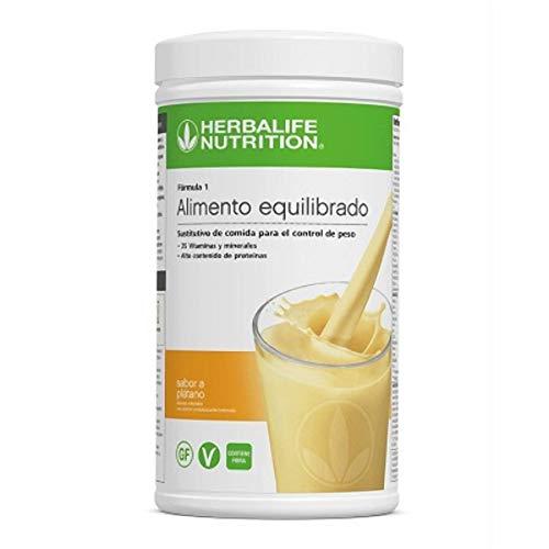 Batido Fórmula 1 Herbalife sustitutivo de comidas bajo en calorías. Rico en proteínas, vitaminas y minerales. Efecto saciante. Sabor Plátano 550 g