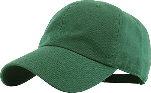 KB-LOW HGN Classic Cotton Dad Hat Adjustable Plain Cap. Polo Style Low Profile (Unstructured) (Classic) Hunter Green Adjustable