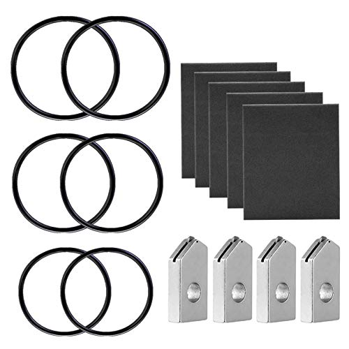Glass Bottle Cutter Accessories Kit 15 Pack, Includes 4 pcs Blades + 5 pcs Sandpaper + 6 pcs Fixing Rubber Rings in 3 Sizes for Glass Bottle Cutter DIY Craft Project