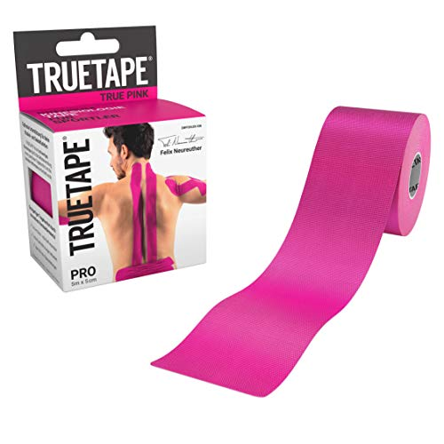 TRUETAPE® PRO - Kinesiologie Tape | Perfekter Tragekomfort | 5m x 5cm | ungeschnitten | Innovatives Synthetikmaterial | Kinesiotape | Pink