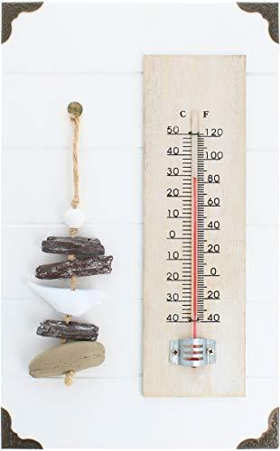 COM-FOUR® analoge thermometer - maritieme wandthermometer voor gebruik binnenshuis - temperatuurmeter met schaal in graden Celsius en graden Fahrenheit (04 stuks - met stenen decoratie)
