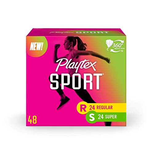 Playtex Sport Tampons Multipack, Regular and Super Absorbency, Unscented, 48 Count