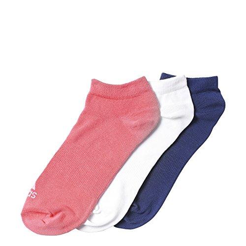Adidas Performance No-Show Thin 3PP, Calcetines unisex, 3 pares, Rosa / Blanco / Azul marino, 27-30