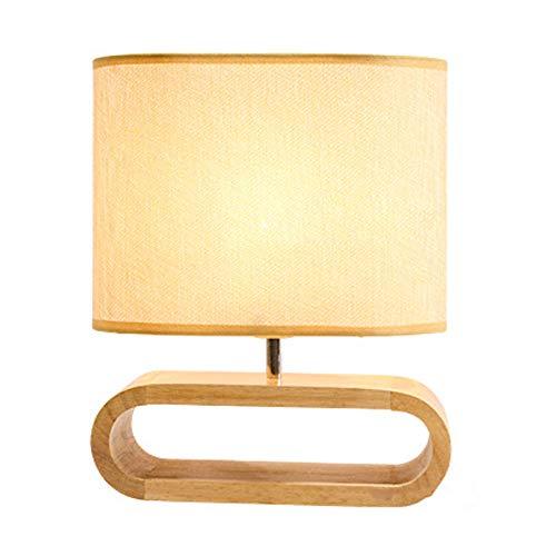 Lámpara de escritorio de madera de dormitorio, lámpara de mesa de sala de estar LED con pantalla de tela, lámpara de noche E27 moderna, para estudio de oficina y lectura, 2 temperaturas de color KAYBE