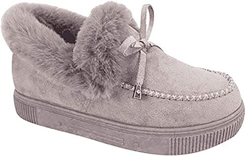 KEYT Botas de nieve casuales para mujer, moda cálida y cómoda felpa plana,Invierno al aire libre durable zapatos plataforma mocasín grueso gris   39 M EU