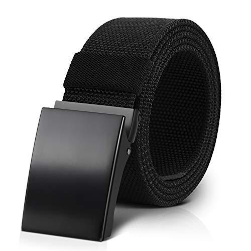 BESTKEE Cinturones Paquete de 2 Tela para Hombres, Cinturón de Trabajo Táctico Militar de Nailon Cinturón EDC Informal Totalmente Ajustable con Hebilla de Metal Automática …
