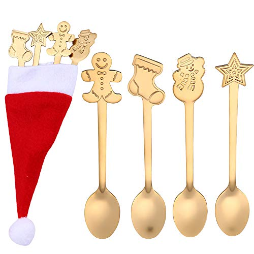AMhomely Christmas Decorations Sale,4PCS Christmas Colorful Spoon Handle Spoons Flatware Ice Cream Drinking Tools GD Merry Christmas Decorative Xmas Decor Ornaments Party Decor Gifts For Kids Adults