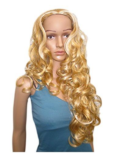 Extension de cheveux extra glamour en une pièce - Boucles ondulées extra longues - Blond doré avec reflets de couleur beige