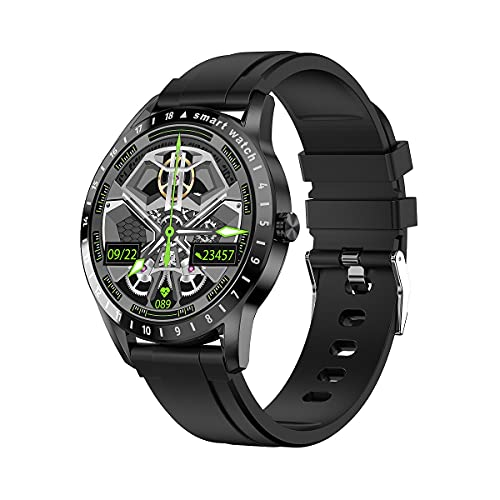 SHUBIAO 2021 Smart Watch, SmartWatch Woman Men Monitor de frecuencia cardíaca, Simple y Elegante Monitoreo de presión Arterial Smartwatch, para iOS Androide (Color : Black)