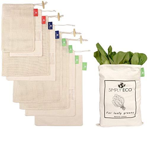 8 pack Natural Cotton Reusable Mesh & Muslin Produce Bags with Drawstring for Veggies, Fruits & Bulk Food Storage