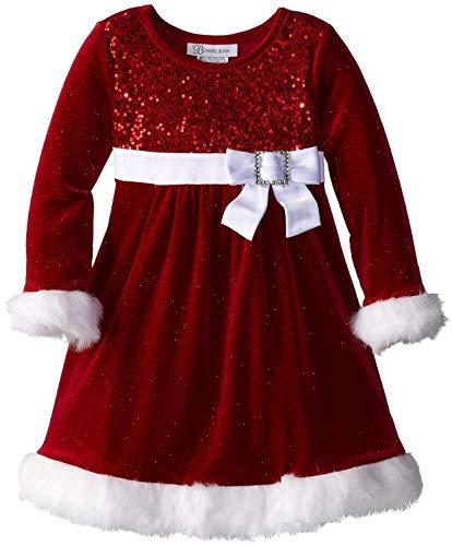 Bonnie Jean Little Girls' Sparkle Stretch Santa Dress, Red, (16, Red)