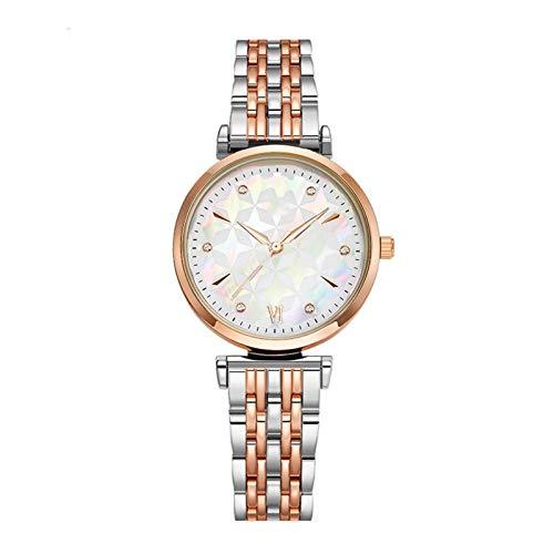 HFQJTU Relojes para Mujer, Mujer Reloj de Pulsera de Cuarzo de Moda con Banda de Acero Inoxidable y Esfera Colorida, Relojes Elegantes para Mujer Regalos de Reloj de Pulsera de Negocios para Ella