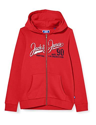 Jack & Jones Junior Boys JJELOGO Zip Hood 20/21 NOOS JR Cardigan Sweater, True Red, 164/