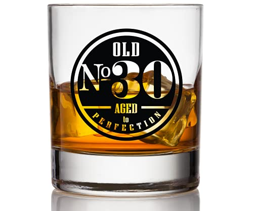 Old No. 30 Birthday Whiskey Glass For Men - 30th Birthday Gifts for Him - Unique Scotch Glass - 30th Birthday Decorations and Party Supplies - Perfect 30th Anniversary Idea for Dad, Husband, Friend