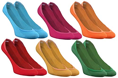 Rainbow Socks - Damen Herren Bunte Ballerina Socken - 6 Paar - Blau Fuchsie Orange Rot Gelb Grün - Größen 36-38