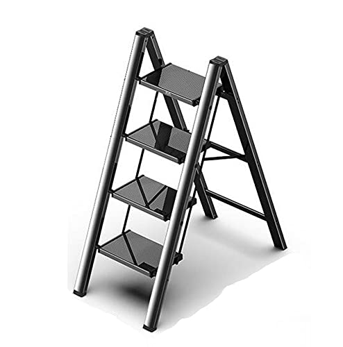 ZHANGMIN Folding Step Ladder, Lightweight Portable Stairs, 2/3/4 Aluminum Step Stool with Wide Anti-Slip Pedal, 330lbs Load for Household and Office,Black (Size : L)