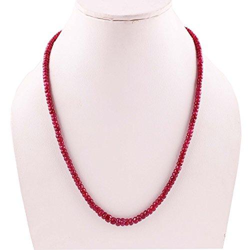 Neerupam Collection Natural Rubi Rojo Collar de Perlas de Piedras Preciosas para Mujeres y niñas
