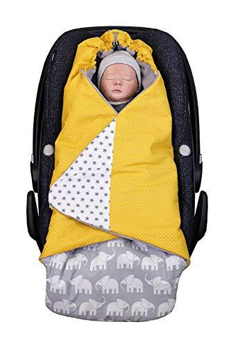 ULLENBOOM ® Einschlagdecke Babyschale Elefant Gelb (Made in EU) - Babydecke für Autositz (z.B. Maxi Cosi ®), Babywanne oder Kinderwagen, ideale Decke für Babys (0 bis 9 Monate)
