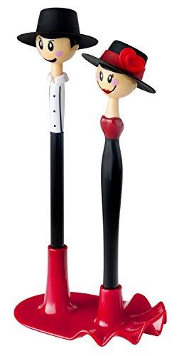 VIGAR Dolls Flamenco Schreibset Kugelschreiber mit Stiftehalter, ABS, Silikon, schwarz/rot/weiß, 10,5 x 7 x 21,5 cm