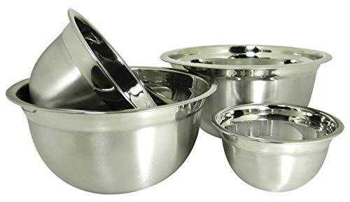 4 Stainless Steel Deep Euro Style Mixing Bowl Set-.75 ,1.5, 3 and 5 Qt Nesting-Mixing bowl-Mixing bowls-Bowls for kitchen-Mixing bowls for kitchen