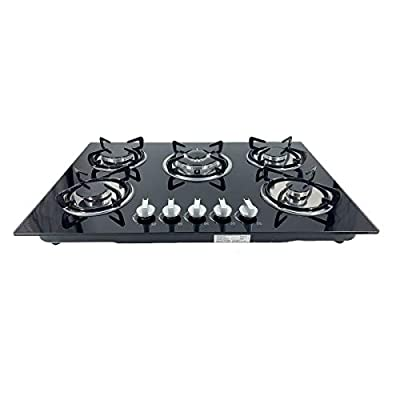 """EWANYO 30"""" Built-in Gas Cooktop in Black Tempered Glass with 5 Burner Gas Hob NG/LPG Convertible Natural Gas Propane Cooktops and Easy to Clean, High Power Burner Gas Stovetop, 30 Inch"""
