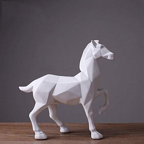Verzamelobjecten Sculpturen Abstracte Witte Paard Standbeeld Hars Ornamenten Woonkamer Decoratie Accessoires Cadeau Hars Witte Paard Sculptuur