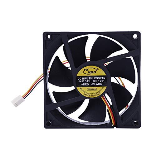 Timagebreze Radiador de Enfriamiento de Disipador TéRmico de Ventilador de 3 Pines de 90 Mm y 25 Mm para Computadora PC CPU 12V