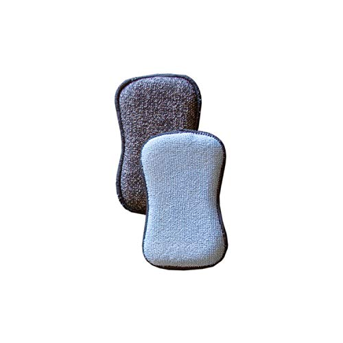 Tuff-Scrub Microfiber Multi Surface Scrub and Wipe Sponges, Dual-Sided for Scouring and Easy Household Cleaning, Machine Washable (Pack-2)