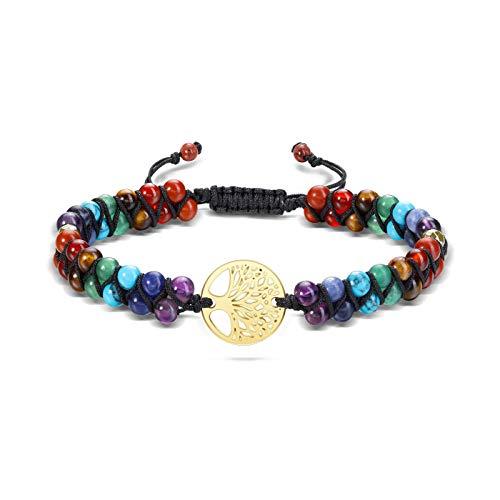JSDDE 7 Chakra Gemstone Bracelet Reiki Healing Crystal Chakra Stone Braided Bracelets for Women Yoga Meditation Balancing (Tree of Life Charm)