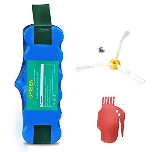 GPISEN 4500 mAh batería para aspiradora Roomba 500, 600, 700, 800, 900, R3, 80501,4419696 Scooba 450 Series con Scraper y Side Pincel para serie 5 6 7