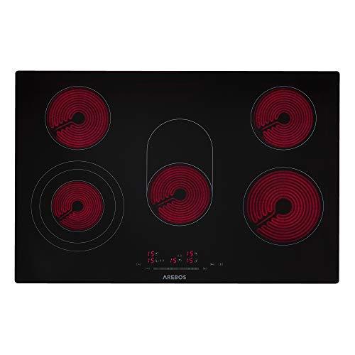 AREBOS Glaskeramikkochfeld | 8600 W | 5 Kochfelder | 77cm | autark | inkl. Dual-Kochzone und Bräterzone | mit Sensor Touch | Kindersicherung | Überhitzungsschutz | Autoabschaltung