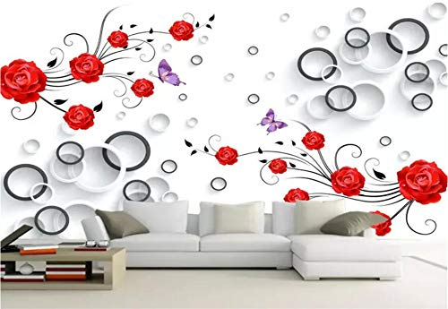 Fototapete 3D Tapete Wandbild Runde Mode Der Schwarzen Und Weißen Roten Rose Foto Tapete 3D Effekt Wandtapete Vliestapete Wandbilder XXL Wanddeko Tapeten