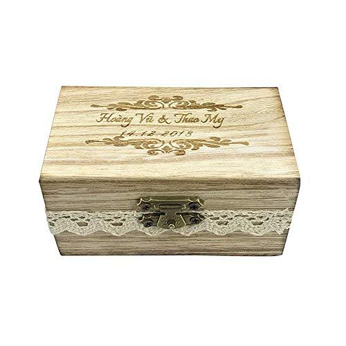 Jacklin F Caja de Madera Personalizada del Anillo de Bodas, Caja rústica del Portador del Anillo de Bodas, Caja de joyería Decorativa del Tenedor Personalizado del Anillo de Compromiso de la Boda