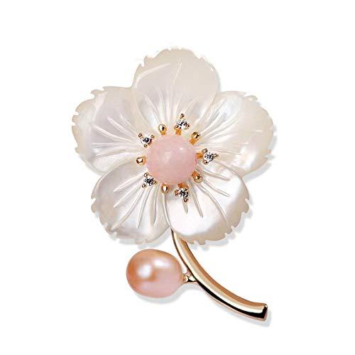 淡水真珠粉晶ブローチ 貝殼花コサージュ 高級感の胸飾り 結婚式卒業式入学式用 女性母贈り物 ギフトBOX付き