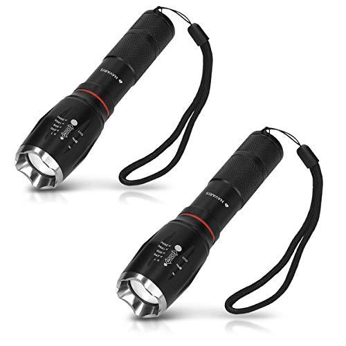 Navaris 2x Torcia LED ricaricabile - funzione zoom SOS dimmerabile - Luce tascabile in alluminio resistente agli schizzi - Pila a batterie angolo illuminazione 120° 300m