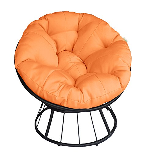 Deluxe 360 Swivel Papasan Chair with Soft Cushion, Outdoor Patio Swivel Glider Rocking Lounge Chair, Deep Seating Moon Chair, Solid Twill Fabric Orange Cushion