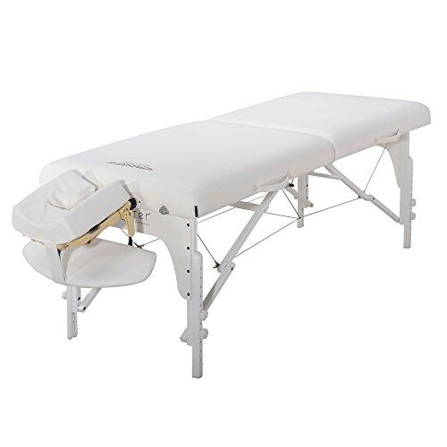 Master Massage 79cm Montclair Mobil Massageliege Klappbar Massagebett Massagebank Kosmetikliege Portable Beauty Bed Holzfüße Paket Schneeweiß
