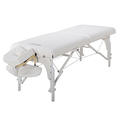 Master Massage 31 inch Montclair LX Pro Portable Massage Table Package with Memory Foam, Snow White