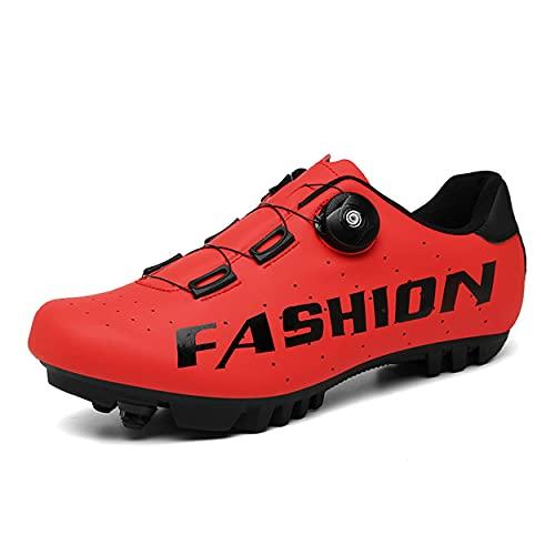 Zapatos De Ciclismo para Mujer, Zapatos De Bicicleta De Carretera Zapatos De Bicicleta De Montaña Transpirables Compatibles con SPD Look Delta Zapatos De Ciclismo Interior,Rojo,46 EU