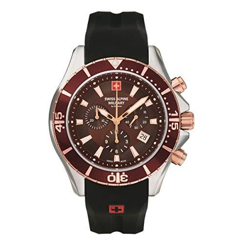 Swiss Alpine Military 7040 - Reloj cronógrafo analógico de cuarzo para hombre (silicona, 10 ATM)