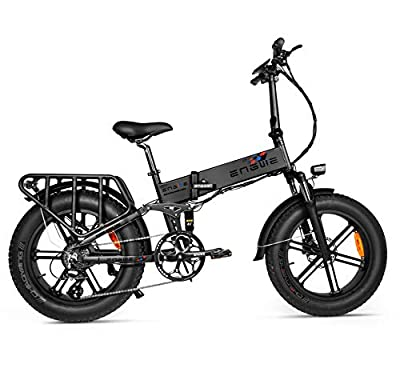 ENGWE Upgrade 500W 20 inch Fat Tire Electric Bicycle Mountain Beach Snow Bike for Adults, Aluminum Electric Scooter 8 Speed Gear E-Bike with Removable 48V12.8A Lithium Battery (ENGIE)…