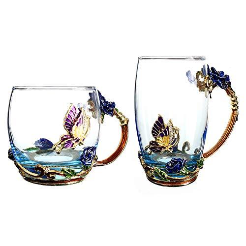 2 Stks Handicraft Kristal Glas 3d Thee Mok Met Lepel Set, Lood Gratis Handgemaakte Vlinder, Makkelijk schoon te maken, Gebruikt voor warme en koude dranken, Thee, Koffie, Citroen