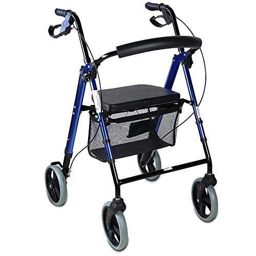Mobiclinic, Hércules, Deambulatore per anziani, adulti o disabili, in alluminio, leggero, pieghevole, con seduta e 4 ruote, Blu