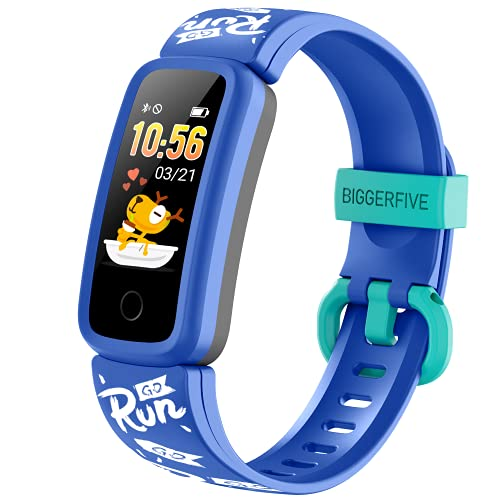 2021 Kids Fitness Tracker Watch for Boys Girls Age 5-15, BIGGERFIVE Vigor Stylish Waterproof Activity Tracker, Family Account APP Step Calorie Counter Sleep Heart Rate Monitor More for Child Teen-Blue