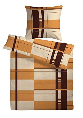 Kühle Mako-Satin Bettwäsche in exklusiver Hotelqualität 200 x 200 cm Braun-Creme Kariert aus 100% Baumwolle für besten Schlafkomfort – Hotelbettwäsche Set mit Kopfkissenbezügen
